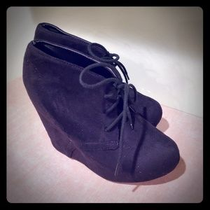 Black Soda suede wedge heels